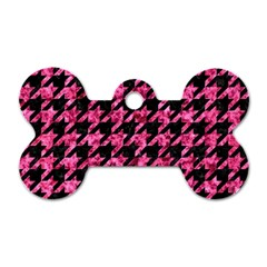 Houndstooth1 Black Marble & Pink Marble Dog Tag Bone (two Sides) by trendistuff