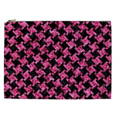 Houndstooth2 Black Marble & Pink Marble Cosmetic Bag (xxl) by trendistuff