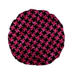 Houndstooth2 Black Marble & Pink Marble Standard 15  Premium Flano Round Cushion  by trendistuff