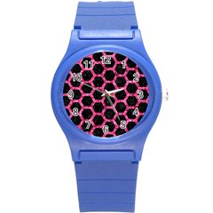 Hexagon2 Black Marble & Pink Marble Round Plastic Sport Watch (s) by trendistuff