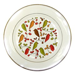 Birds And Flowers 3 Porcelain Plates by Valentinaart