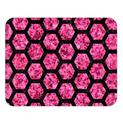 Hexagon2 Black Marble & Pink Marble (r) Double Sided Flano Blanket (large) by trendistuff