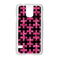 Puzzle1 Black Marble & Pink Marble Samsung Galaxy S5 Case (white) by trendistuff