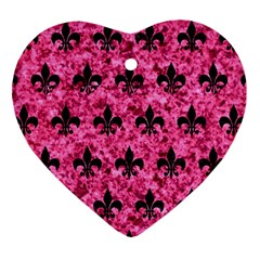 Royal1 Black Marble & Pink Marble Heart Ornament (two Sides) by trendistuff