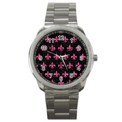 Royal1 Black Marble & Pink Marble (r) Sport Metal Watch by trendistuff