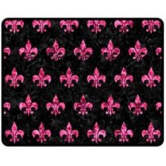 Royal1 Black Marble & Pink Marble (r) Double Sided Fleece Blanket (medium) by trendistuff
