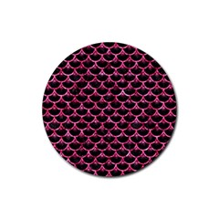 Scales3 Black Marble & Pink Marble Rubber Round Coaster (4 Pack) by trendistuff