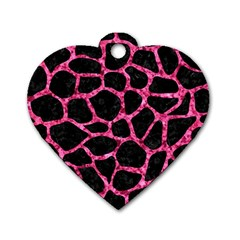 Skin1 Black Marble & Pink Marble (r) Dog Tag Heart (two Sides) by trendistuff