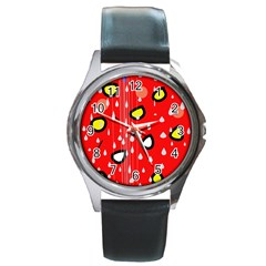 Rainy day - red Round Metal Watch by Moma