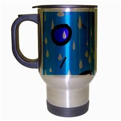 Rainy Day   Blue Travel Mug (silver Gray) by Moma