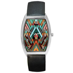 Abstract Mosaic Color Box Barrel Style Metal Watch by AnjaniArt
