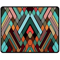 Abstract Mosaic Color Box Double Sided Fleece Blanket (medium)  by AnjaniArt