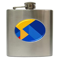 Box Yellow Blue Red Hip Flask (6 Oz) by AnjaniArt