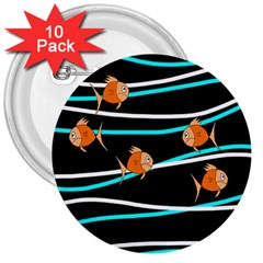 Five Orange Fish 3  Buttons (10 Pack)  by Valentinaart