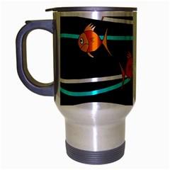 Five Orange Fish Travel Mug (silver Gray) by Valentinaart