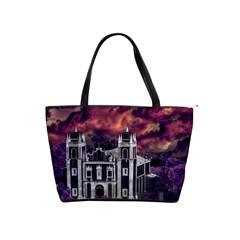Fantasy Tropical Cityscape Aerial View Shoulder Handbags by dflcprints