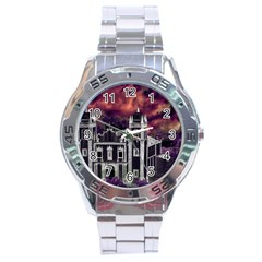 Fantasy Tropical Cityscape Aerial View Stainless Steel Analogue Watch by dflcprints
