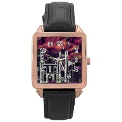 Fantasy Tropical Cityscape Aerial View Rose Gold Leather Watch  by dflcprints