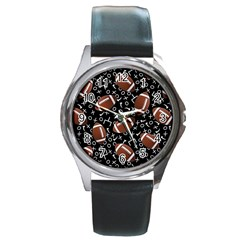 Football Player Round Metal Watch by AnjaniArt