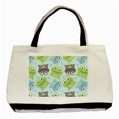 Frog Green Basic Tote Bag (two Sides) by AnjaniArt