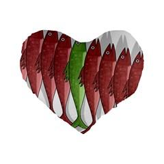 Mackerel Military 2 Standard 16  Premium Flano Heart Shape Cushions by Valentinaart