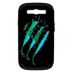 Green Fish Samsung Galaxy S Iii Hardshell Case (pc+silicone) by Valentinaart