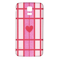 Fabric Magenta Texture Textile Love Hearth Samsung Galaxy S5 Back Case (White)