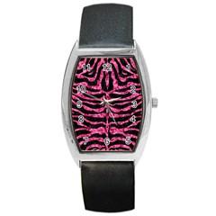 Skin2 Black Marble & Pink Marble Barrel Style Metal Watch by trendistuff