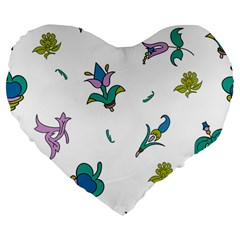 Leaf Large 19  Premium Flano Heart Shape Cushions by AnjaniArt