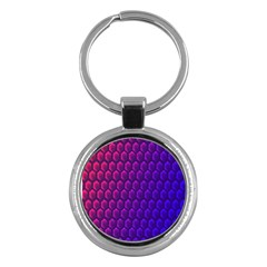 Outstanding Hexagon Blue Purple Key Chains (round)  by AnjaniArt