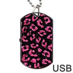Skin5 Black Marble & Pink Marble (r) Dog Tag Usb Flash (one Side) by trendistuff
