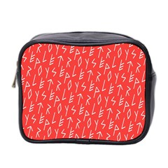 Red Alphabet Mini Toiletries Bag 2 Side by AnjaniArt