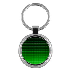 Neon Green And Black Halftone Copy Key Chains (round)  by AnjaniArt
