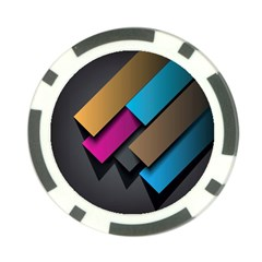 Shapes Box Brown Pink Blue Poker Chip Card Guards (10 Pack)  by AnjaniArt