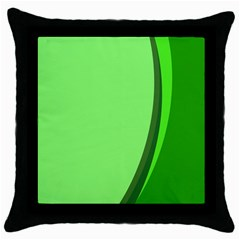 Simple Green Throw Pillow Case (black) by AnjaniArt