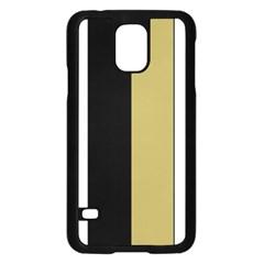 Black Brown Gold White Stripes Elegant Festive Stripe Pattern Samsung Galaxy S5 Case (black) by yoursparklingshop
