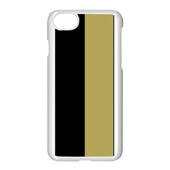 Black Brown Gold White Stripes Elegant Festive Stripe Pattern Apple iPhone 7 Seamless Case (White) by yoursparklingshop