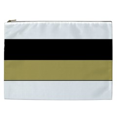 Black Brown Gold White Horizontal Stripes Elegant 8000 Sv Festive Stripe Cosmetic Bag (xxl)  by yoursparklingshop