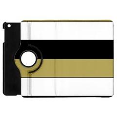 Black Brown Gold White Horizontal Stripes Elegant 8000 Sv Festive Stripe Apple Ipad Mini Flip 360 Case by yoursparklingshop