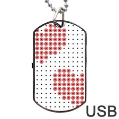 Heart Love Valentine Day Pink Dog Tag USB Flash (One Side) by AnjaniArt