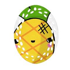 Kawaii Pineapple Oval Filigree Ornament (2 Side)  by CuteKawaii1982