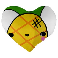 Kawaii Pineapple Large 19  Premium Heart Shape Cushions by CuteKawaii1982