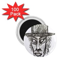 Man With Hat Head Pencil Drawing Illustration 1 75  Magnets (100 Pack)  by dflcprints