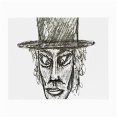 Man With Hat Head Pencil Drawing Illustration Small Glasses Cloth (2 Side) by dflcprints