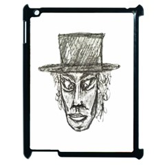Man With Hat Head Pencil Drawing Illustration Apple Ipad 2 Case (black) by dflcprints