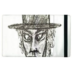 Man With Hat Head Pencil Drawing Illustration Apple Ipad 3/4 Flip Case by dflcprints