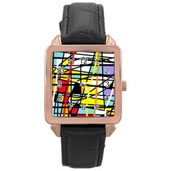 Casual Abstraction Rose Gold Leather Watch  by Valentinaart