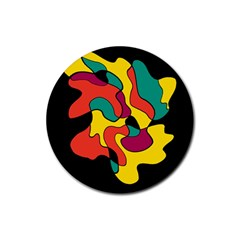 Colorful Spot Rubber Coaster (round)  by Valentinaart