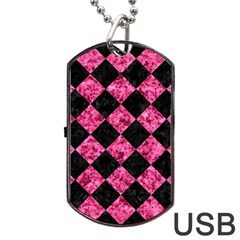 Square2 Black Marble & Pink Marble Dog Tag Usb Flash (two Sides) by trendistuff