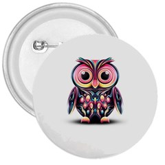 Owl Colorful 3  Buttons by AnjaniArt